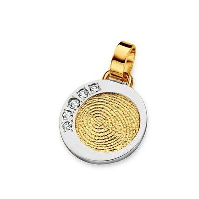 Dazzling Zirconia i guld med kant i hvidguld