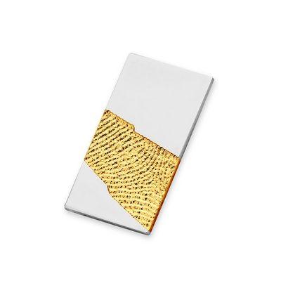 Light Pendant i guld med kant i hvidguld