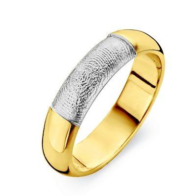 Love ring i guld med fingeraftryk i hvidguld