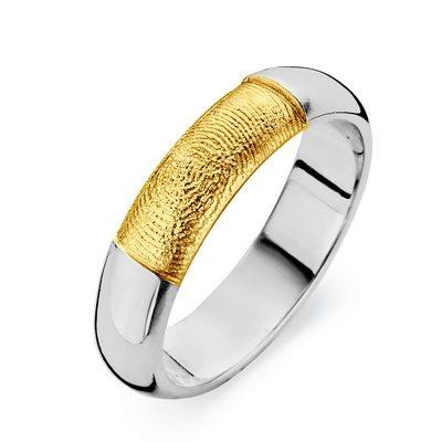 Love ring i hvidguld med fingeraftryk i guld