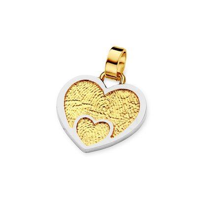 Loved One Pendant i guld med kant i hvidguld