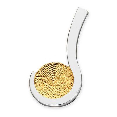 Loving One Pendant i guld med kant i hvidguld