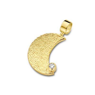 Moon Zirconia Pendant i guld