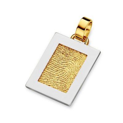Pure Pendant i guld med kant i hvidguld