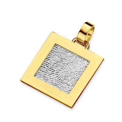 Sinsere Pendant i hvidguld med kant i guld