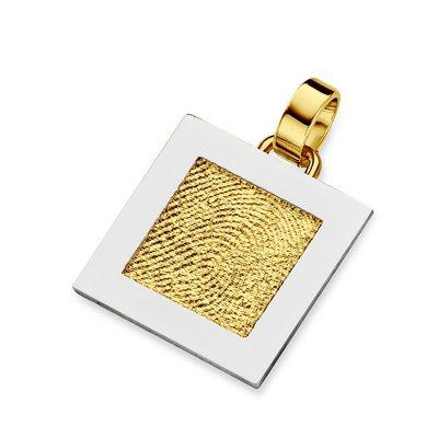 Sinsere Pendant i guld med kant i hvidguld