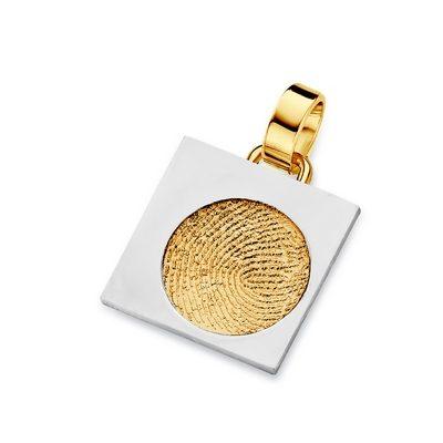 Sky Pendant i guld med kant i hvidguld