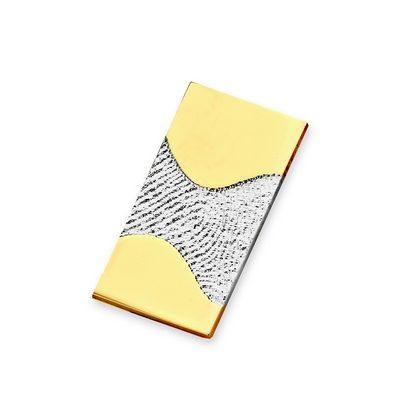 Wave Pendant i hvidguld med kant i guld