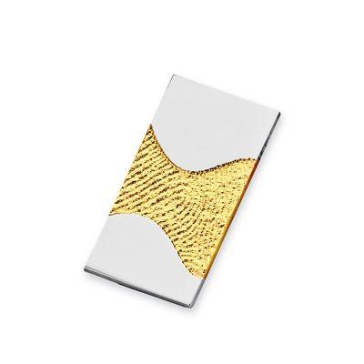 Wave Pendant i guld med kant i hvidguld